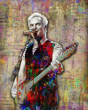 Sting of The Police 16x20in Poster, Sting Police Tribute Pop Art Free Shipping