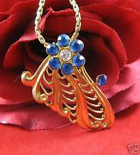 Vintage Blue Rhinestone Wing Necklace Cat Rescue