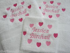 Personalised 3 Piece Towel Gift Set Hand - Bath & Face Cloth in Heart Design.