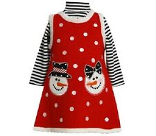 Bonnie Jean Girls Snow People Sweater Christmas Holiday Jumper Dress Set Size 5