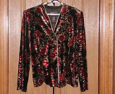 R&K Velvet Long Sleeved Velveteen Floral Jacket Blazer Gold Trim  NWT 12 CK