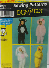 Simplicity Pattern #3996 Bear Bunny Duck Poodle Costumes for Kids SZ (½-1-2-3-4)