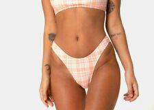 MOTEL ROCKS Makida Bikini Bottom in Picnic Check Peach S Small   (mr48)