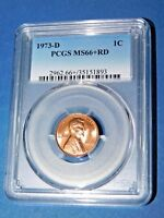 1973-D 1C RD Lincoln Cent-PCGS MS66+RD--376-1