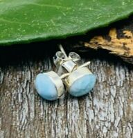 Natural LARIMAR STUDS Earrings 925 Sterling Silver  - P94