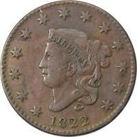 1822 1c Coronet Head Large Cent Penny Coin VF Very Fine