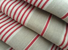 Antique French Linen Red Striped Ticking Fabric Herringbone Weave 19th C. 52x82""