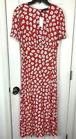 New Sugar + Lips Dress Long Maxi Side Slit Medium Red White Blue Floral Poppies