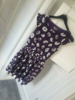 Womens Purple Floral Dress 10 Frill Cap Sleeves pleated skirt knee length