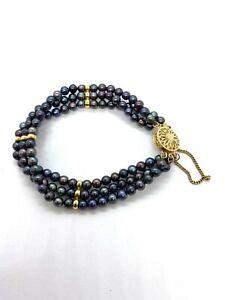 """Black Pearl 3 Strand Bracelet 7"""""""