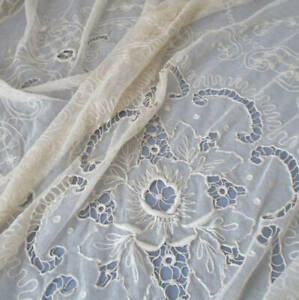"""Vintage Ecru French TAMBOUR LACE Bed Cover 92""""X74"""" Embroidered FLOWERS * AS IS *"""