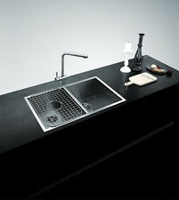 NEW SQUARE KITCHEN SINK DOUBLE BASIN 800mm  STAINLESS STEEL UNDER OR TOPMOUNT