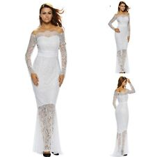 Sz 12 14 off Shoulder Mermaid Black Lace Formal Cocktail Wedding Maxi Dress