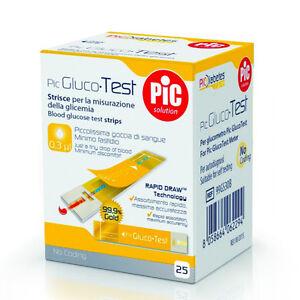 Strisce misurazione glicemia 25 pz - Strisce reattive glucometro Pic Glucotest