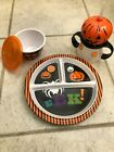 KIDS HALLOWEEN MELAMINE DISH SET PLATE-BOWL W/COVER-SIPPY CUP