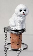 Bichon Frise Dog Hand Painted Resin Figurine Wine Bottle Stopper
