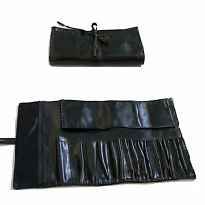 Beautydec Black Faux Leather Cosmetics Brushes Makeup Case Bag Holder Pouch Roll