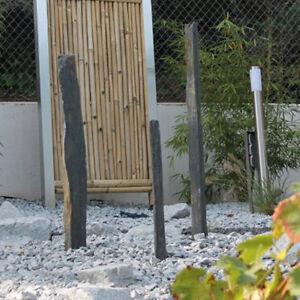 3 Schiefer Stelen als Set groß / Palisaden Naturstein Stangen Gartenstein
