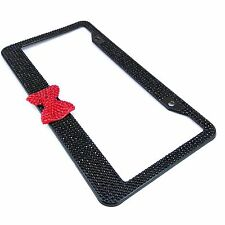 Handmade Bling Rhinestone Stainless Steel Black License Plate Frame With Red Bow