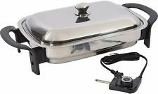 Precise Heat 16 inch Non Stick Rectangular T304 Stainless Steel Electric Skillet