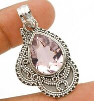 12CT Kunzite 925 Solid Sterling Silver Pendant Jewelry EA29-5
