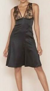 A4 NEW AGENT PROVOCATEUR Gloria Black Silk Floral Mesh Top Slip Dress Sz 10 $600