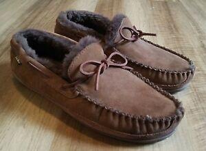 LL Bean Wicked Good Moccasins Men's Size 13 W Slippers Brown Sheepskin Shearling