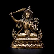 "8"" Nepal old Tibet copper inlay Turquoise Buddhism Bodhisattva Manjusri statue"