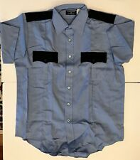 Sz 33 XS Vintage Vanguard Van Heusen Uniform Shirt NOS Police Security Blue 10