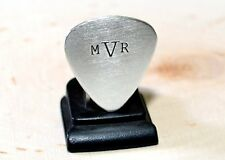 Sterling silver guitar pick with personalized monogram