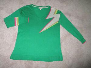Monsoon Green Fine Knit Long/S V Neck Lightning Bolt Jumper S