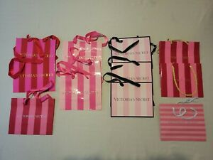 Victorias Secret 12 Retail Glossy Shopping Bags Pink Stripes Small Mixed Lot