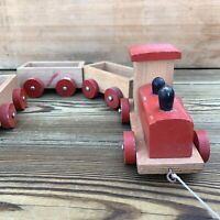 Vintage Wooden Pull Along Train & Carriages Child's Toy