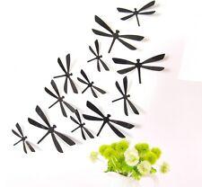 12 LIBELLULES 3D NOIR autocollants PVC Déco Mur/SDB/Porte/Chambre
