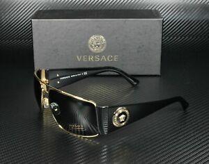 Versace VE2163 100287 Gold Grey Lens Men's Rectangle Sunglasses 63mm