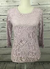 Adrianna Papell-Women's Small 3/4 Lace Elegant Sleeve Top- Icy Lilac