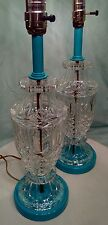 VINTAGE CRYSTAL~PRESSED GLASS TABLE LAMP PAIR