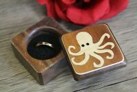 Ring Box Jewelry Gift Wedding Proposal Engagement Octopus Beach Handmade