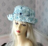 Vintage 1960s Blue Flower and Velvet Spring or Summer Hat