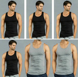 3, 6 Pack Mens 100% Cotton Ribbed A-Shirts Undershirts Wife Beater NEW Tank Tops
