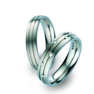 Titanfactory Titan Wedding Rings 51776 51687 With Brilliant 0.14 CT Diamond