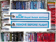 Keyring KLM ROYAL DUTCH AIRLINES Remove Before Flight baggage tag keychain Pilot