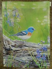 New listing Eastern Bluebird Songbird rests on log, Spring / Summer, Flowers, Garden flag