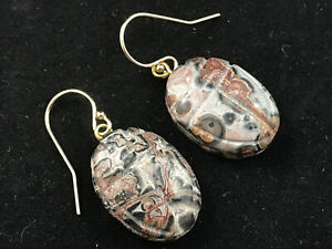 Vintage carved scarab jasper earrings with 14ct gold filled hooks