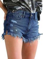 Fashion Women's Mid Rise Sturdy Shorts Frayed Raw Hem Ripped Denim Jean Shorts M