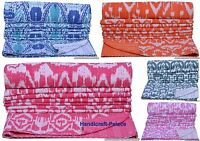Indian Handmade Ikat Throw Kantha Quilt Reversible Bedspread Twin Blanket Ralli