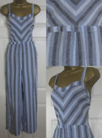 NEW Next Chevron Striped Linen Blend Jumpsuit Summer Wide Leg Blue Grey 6-26