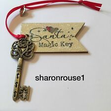 Santa's Magic Key Christmas Eve Box Tradition Antique Bronzed Key Real Wood Tag