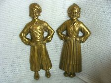 New listing Antique Sheffield Dutch Boy and Girl Brass Pair Andirons Fronts Only Fireplace