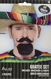 cinco de mayo Pancho Villa Mexican Fiesta moustache & goatee 2 pc Free Shipping